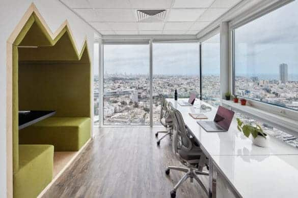 Office space with integrated meeting booth